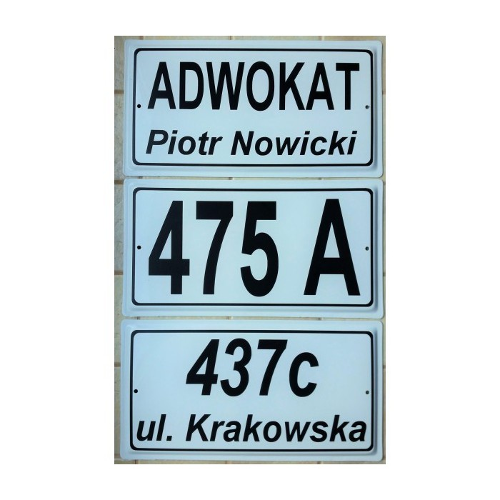 Nowość Biała tabliczka na dom, elewację, szyld z numerem stalowa tłoczona TH76